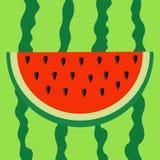 Wassermelonenscheibenikone Schneiden Sie halbe Samen Rotes Fruchtbeerenfleisch Natürliche gesunde Nahrung Süße Wassermelone Tropi stock abbildung