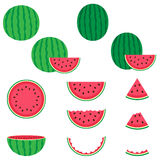 Wassermelonenvektorikonen eingestellt Stockbilder