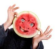 Wassermeloneschablone und menschliche Augen für helloween Lizenzfreie Stockfotos