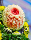 Wassermeloneschnitzen Lizenzfreies Stockfoto