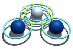 Wassermolekül auf weißem Hintergrund Lizenzfreie Stockfotos