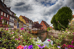 Wasserpanorama in Colmar Stockfoto