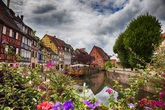 Wasserpanorama in Colmar Stockfoto