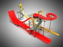 Wasserpark reitet rote Wiedergabe des Gelbs 3d auf grauen Hintergrund Lizenzfreies Stockfoto