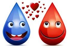 Wasserrückgangs- und -Blutstropfenliebe Stockfotos