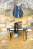 Wasserrad des Metalls auf einem Spielplatz für Kinder Lizenzfreie Stockfotografie
