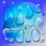 Wasserregentropfen oder Dampfdusche lokalisiert auf transparentem Hintergrund Realistische reine Tröpfchen kondensiert stock abbildung