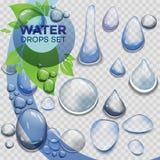 Wasserregentropfen oder Dampfdusche lokalisiert auf transparentem Hintergrund Realistische reine Tröpfchen kondensiert lizenzfreie abbildung