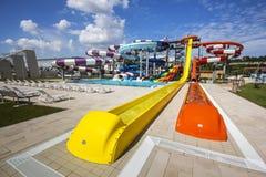 Wasserrutsche am Nymphaea Aquapark in Oradea, Rumänien Lizenzfreies Stockbild
