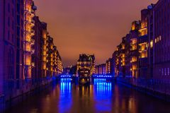 Wasserschloss Speicherstadt Hamburg during Blue Port days Stock Photography