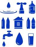 Wasserset der Ikone mit Haus, Hahn, Tropfen, Flasche Stockfoto