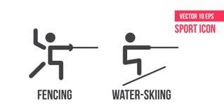 Wasserski laufen und Ikone einzäunend Stellen Sie von der Sommersport-Vektorlinie Ikonen ein Athletenpiktogramm stock abbildung
