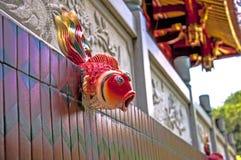 Wasserspeier, rote, keramische Skulptur, Technologie, Kultur und Kunst und Handwerk, Handwerkkünste, traditionelle Kultur und Den stockfotografie