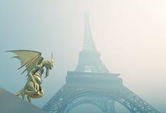 Wasserspeier und Eiffelturm vektor abbildung