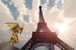 Wasserspeier und Eiffelturm lizenzfreie abbildung