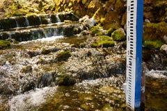 Wasserspiegelmeter auf Waldstrom Lizenzfreie Stockbilder