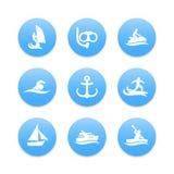 Wassersportikonen, Tauchen, Surfen, segelnd lizenzfreie abbildung