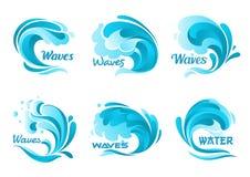 Wasserspritzenikonen Vektor lokalisierte Meereswogen vektor abbildung