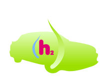 Wasserstoff getankter Autozeichenvektor Stockfotos