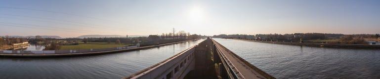 Wasserstraßenüberfahrt minden Panorama Deutschland-hoher Auflösung Lizenzfreie Stockbilder