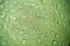 Wassertröpfchen auf Segeltuch Stockfoto