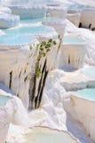 Wassertravertinpools bei Pamukkale, die Türkei stockbilder