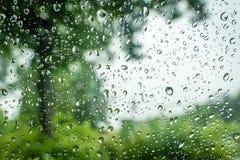 Wassertropfen auf Fenster Stockfotos