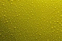 Wassertropfen auf Gelb Stockfotos