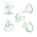 Wassertropfen und Blattsymbolvektorsatz Stockbilder