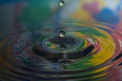Wassertropfen und -kräuselungen Stockbild