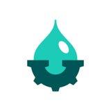 Wassertropfen und -zahnrad Stockbilder