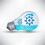 Wasserturbinen-Mechanismusarbeit für Idee, erneuerbare Energie vektor abbildung