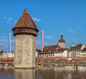 Wasserturm in der Luzerne, die Schweiz Lizenzfreie Stockbilder