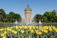 Wasserturm in Mannheim, Germany. Wasserturm (water tower) is Mannheim's local landmark, erected 1886 to 1889. It is surrounded by a public park and garden, a Stock Image