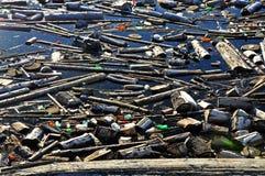 Wasserverschmutzung in einem See mit Abfall Lizenzfreies Stockfoto