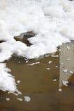 Wasserverschmutzung mit Schaumgummi Lizenzfreies Stockfoto