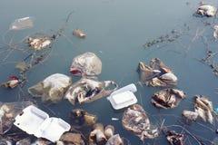Wasservorkommen, das mit verschiedenem Abfall und Abfall verunreinigt wird, Lizenzfreie Stockbilder
