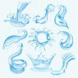 Wasserwellen-Spritzenvektortropfen der transparenten spritzenden gesetzten Bewässerungsillustration des flüssigen Aqua des Wasser vektor abbildung