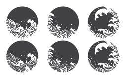Wasserwellenlinie Logoschablone japanisch siamesisch stock abbildung