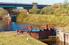Wasserwerk, hydrosystem, hydraulisch, Zugang, Brücke, Fluss, Kanal, Flüssigkeit, Rohr lizenzfreies stockbild