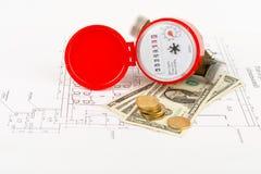 Wasserzähler mit Bargeld auf Entwurf Lizenzfreie Stockbilder