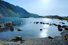 Wast Water. Sun bouncing off Wast Water Royalty Free Stock Photo