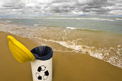 Waste. For trash collection and recycling of wastes from the beach Stock Photography