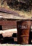 Waste. A waste can at a railroad graveyard Royalty Free Stock Photo