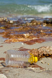 Waste accumulates on the beach Stock Photos
