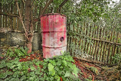 Waste barrel in natural environment Royalty Free Stock Photography