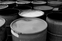 Waste Barrels. 55 gallon waste drums Royalty Free Stock Photo