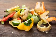 Vegetable And Fruit Peelings On Table Royalty Free Stock Photos