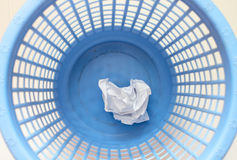 Waste basket. Photo waste baskets with lying inside the crumple pap Stock Photos