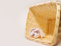 Waste basket. Woven waste paper bin Stock Image